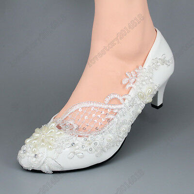 Lace white light ivory pearls Wedding shoes flats low high heel pump size 5-10