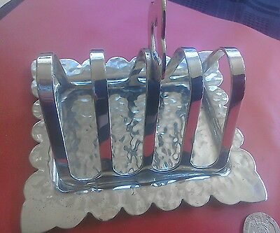Great arts & crafts style silver plate toast rack with removable crumb tray