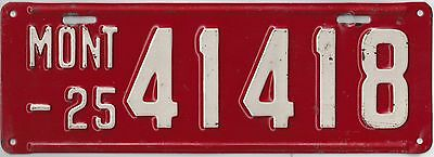1925 MONTANA  LICENSE PLATE  in Excellent Condition