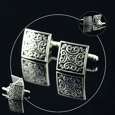 New Stainless Silver Black Unique Wedding Cufflink  Square Cuff Link Place
