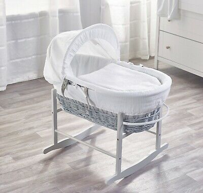 White Waffle Grey Wicker Padded Moses Basket And Grey Rocking Stand