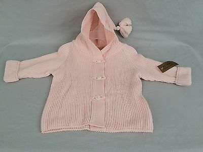 T.C BABIES Collection Girls Soft Pink 100% Cotton Cardigan Sweater-Hoodie 6-12M