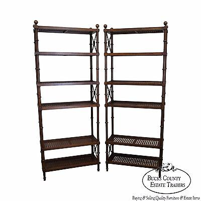 Faux Bamboo Pair of Vintage Regency Style Cane Shelf Etageres