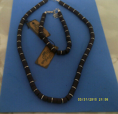 "MENS SURF JEWELLERY NECKLACE AND BRACELET col black  & silver 18""+ 2"" ext"