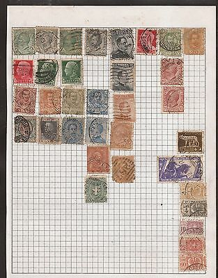 Italy -  Lot Of Old Stamps On An Old Page