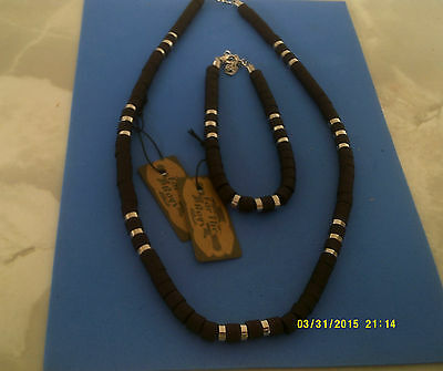 MENS SURF JEWELLERY NECKLACE AND BRACELET col black  & silver 17""