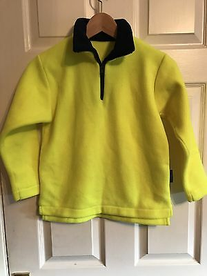 Equafleece Fluorescent Yellow Fleece Top Child Age 8-10 New