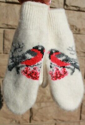 MITTENS winter warm thick 100% SHEEP WOOL HOME KNITTED bullfinches