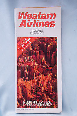 Western Airlines - Timetable - December 12, 1986