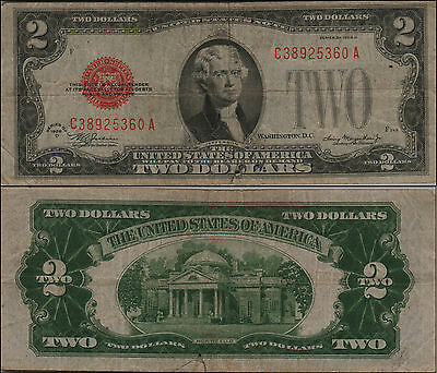 1928D $2 Dollar Bill Old Us Note Legal Tender Paper Money Currency Red Sl Y141