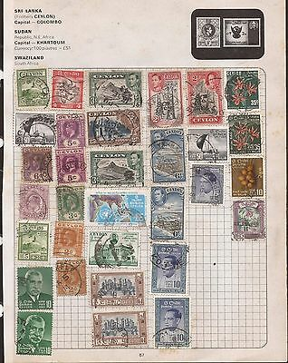 Ceylon -  Lot Of Old Stamps On An Old Album Page