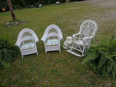antique childs white wicker chairs