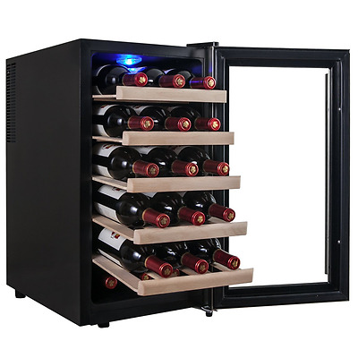 Free Standing Wine Cooler 18 Bottles Stainless Steel Fridge Black Refrigerator