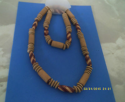 MENS SURF JEWELLERY NECKLACE & bracelet  col beige & brown one sz elasticated