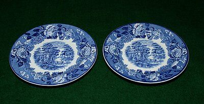 2 blue plates Wood & Sons Enoch English scenery