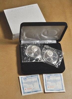 2 - 1990 3 Roubles Russian Silver Proof Coins#