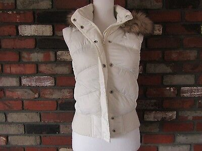 Aeropostale Women's White Hooded Puffer Vest with Faux Fur Collar Size S Small