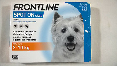 FRONTLINE SPOT ON  For DOGS (2-10 kgs) - 3 Pipettes  Sealed Box