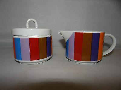 Imperial SAN REMO Porcelain Mid Century Multi Color Stripe Sugar Bowl & Creamer