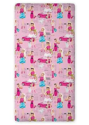 Brand New BARBIE pink SINGLE FITTED SHEET 90cm x 200cm 100% COTTON