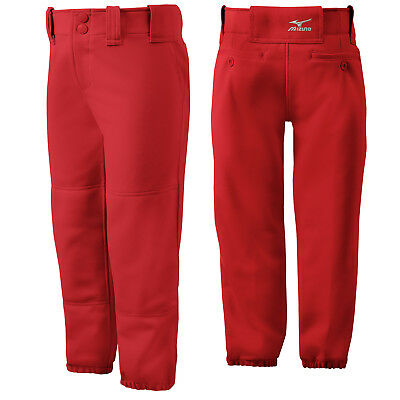 Mizuno Youth Girl's Belted Fastpitch Softball Pant - Red - Small