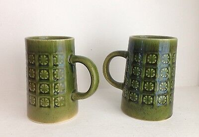 2 Vintage Green Holkham Pottery Mugs. Retro Design