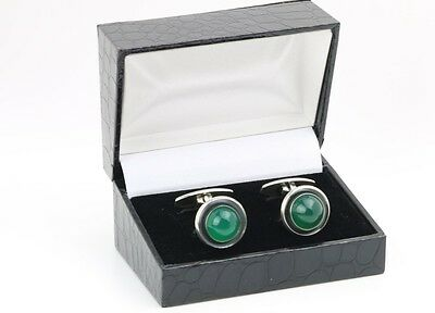Danish silver cuff links with green Onyx made by N.E.From