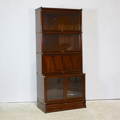 Mahogany set of barrister stacking bookcases with glass and wood doors