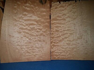 """2 pieces quilted maple raw wood veneer pillow 11 1/2"""" x 8 1/2"""" Luthier guitar"""