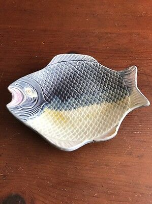 "Very Nice Rare Antique Etruscan Majolica Fish Shaped Platter 9"" Probably GSH"