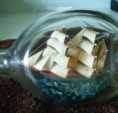 Vintage Sailing Ship in Haigs Whiskey Dimple Glass Bottle