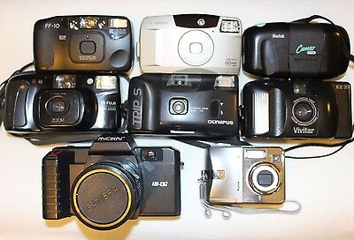 Lot of (9) Cameras: Canon, Olympus, Vivitar, Kodak, Ricoh - Film and Digital