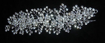 Bridal/party Evening/wedding Crystal Diamante Hair Comb Clip Slide New