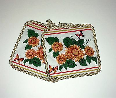 Country Sunflowers and Butterfly Pattern Kitchen Oven Pot Holders Hot Pad