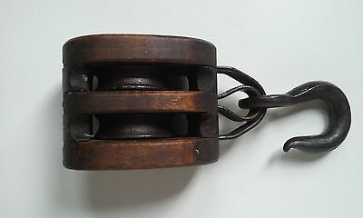 Vintage Wooden Double Block Ship Barn Trolley Ornate Nautical Antique Pulley