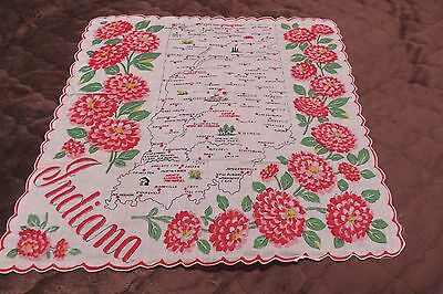 Vintage INDIANA State Map Souvenir Vibrant Colorful Hankie New Condition