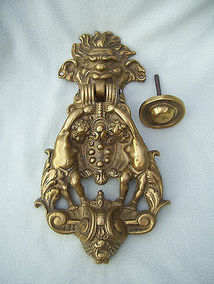 Rare Brass North Wind with Cherubs & Ram Door Knocker w original matching knob