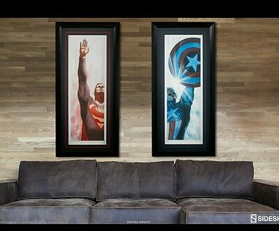 Sideshow Superman and Captain America Alex Ross Print