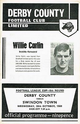 Derby County v Swindon Town League Cup 5th Round 1968/69