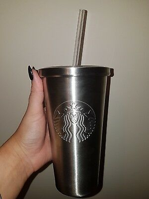 Starbucks stainless steel tumbler cup with straw *NEW* uk seller