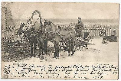 Old Early Postcard 'TYPES RUSSES' Thiili Poccin 1904 Russian Sleigh