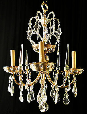 Antique French Jansen style bronze and cristal chandelier.