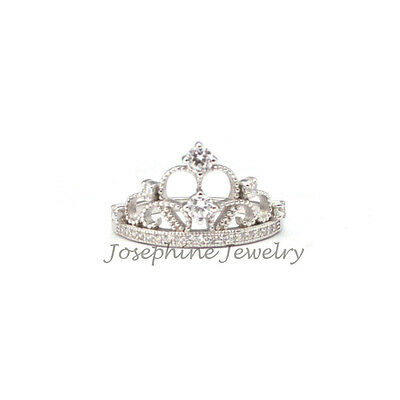 .925 Sterling Silver Princess Tiara Crown Ring Cubic Zirconia Ring Size 6-10