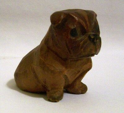 Vintage Miniature Hand Carved Wooden Boston Bull Dog Figurine