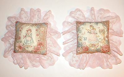 Set of 2 Handcrafted Mini Victorian Pink Lace Pillows Decorative 7-inch Square