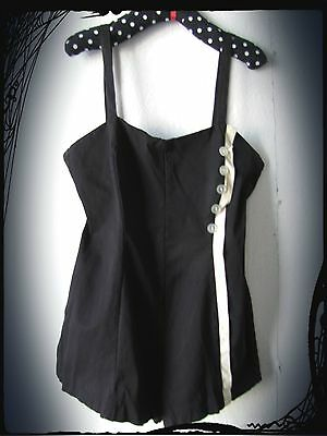 "1940's Vintage Women's Pinup Black & White Bathing Swim Suit Size 40"" Bust EUC"