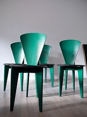 1of4 VINTAGE ITALIAN 1980s 1990s MEMPHIS MILANO STYLE DINING CHAIRS LEATHER WOOD