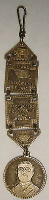 Antique THEODORE ROOSEVELT GOP Watch Fob Medal PANAMA Canal Protection V. RARE