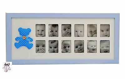 My First Year Blue 12 Month Baby Photo Frame Baby Boy Gift Present