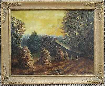 """Antique Framed Oil Painting - Signed """"S.C. Boenistein"""" - European Country Home"""